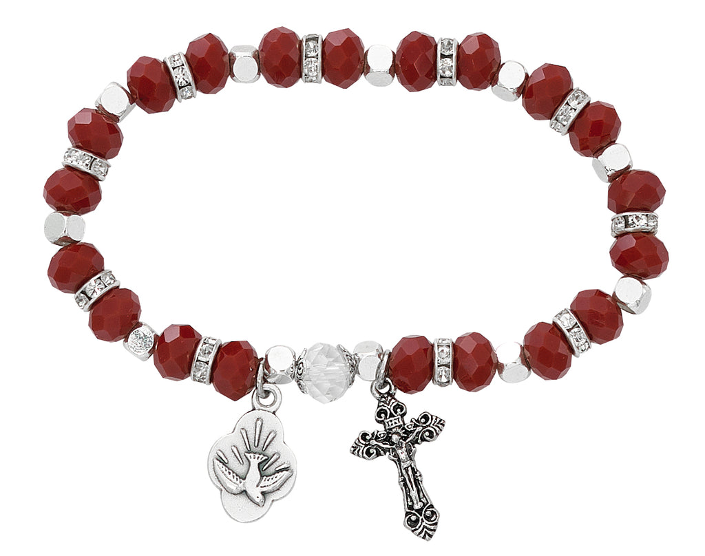 Bracelet - Adult Red Holy Spirit Stretch Bracelet Carded