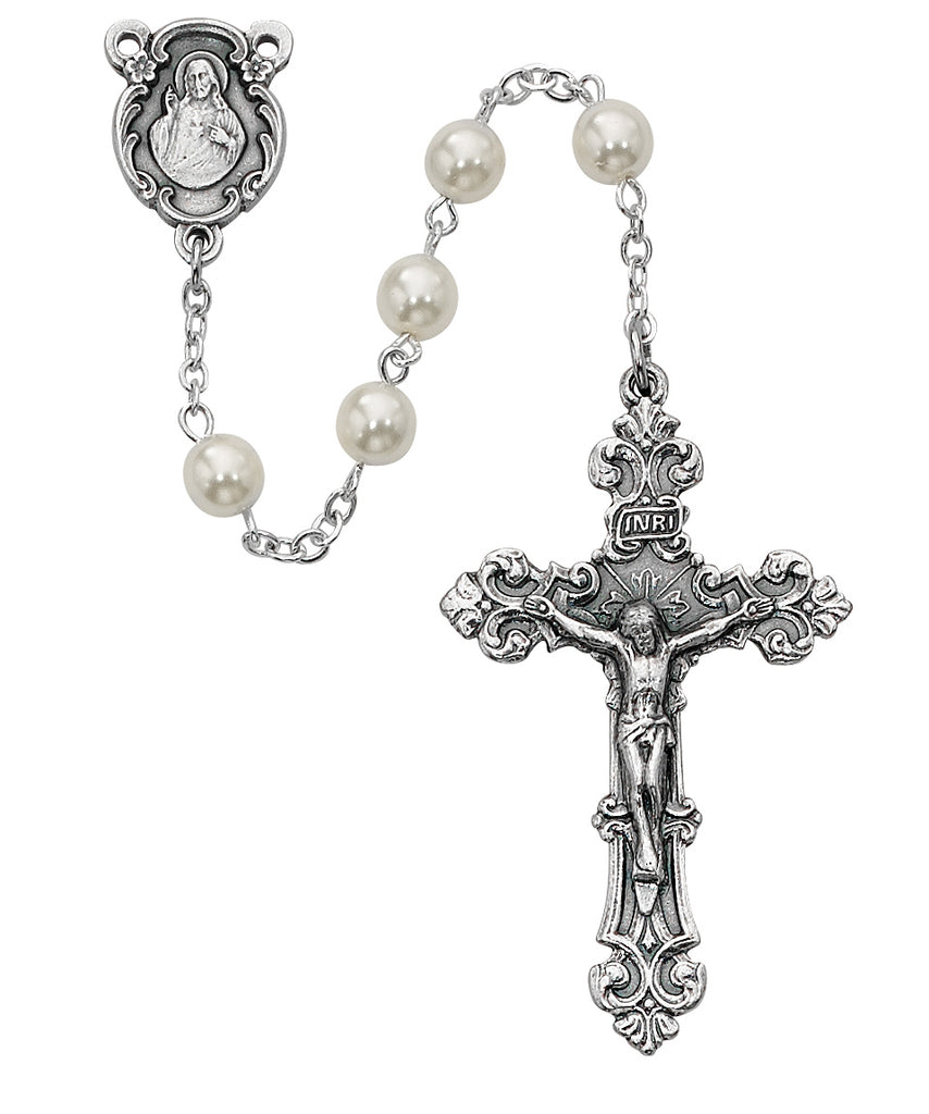 Rosary - Pearl like Glass Rosary Boxed