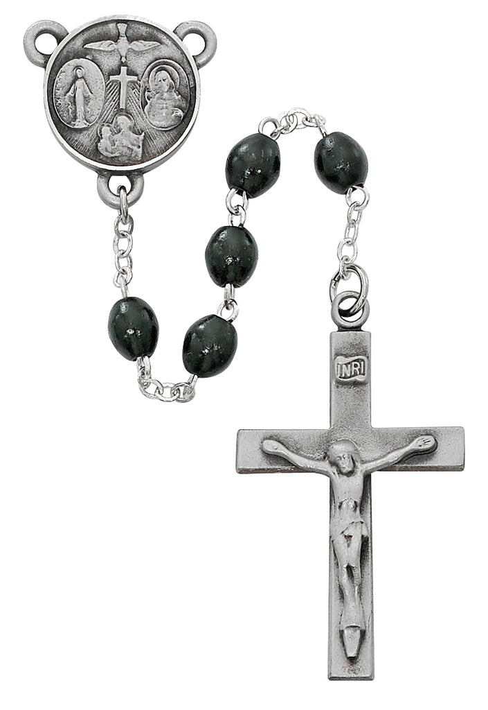 Our Father Rosary - Black Wood Boxed
