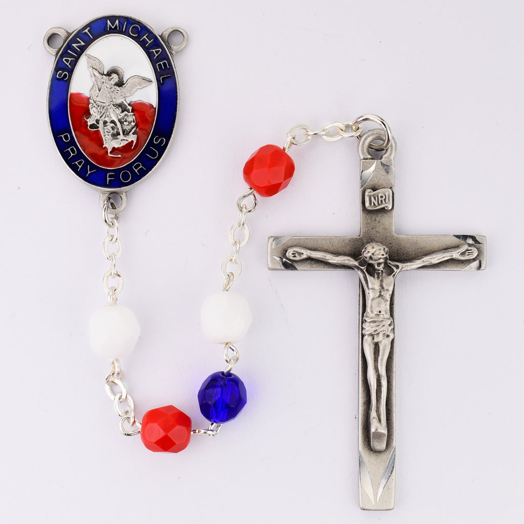 Michael Rosary - Red, White and Blue St Michael Rosary Boxed