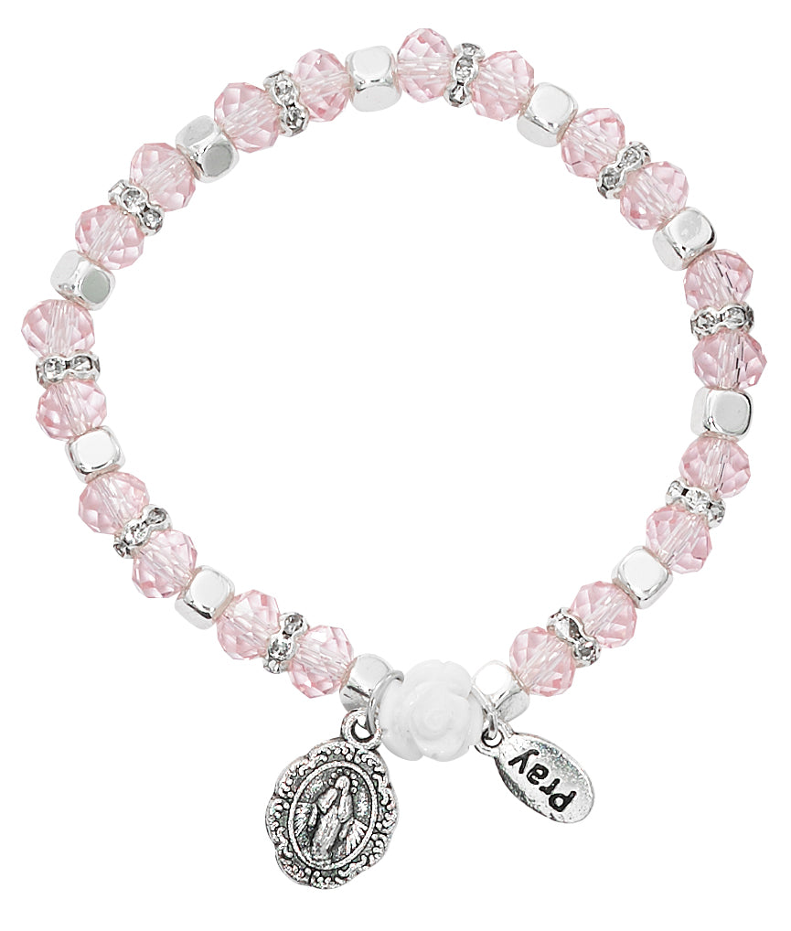 Bracelet - Youth Pink Stretch Bracelet Carded