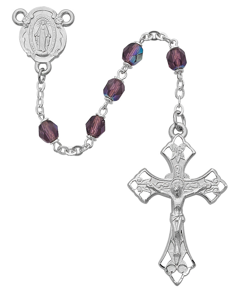 Rosary - Purple Aurora Glass Rosary Boxed