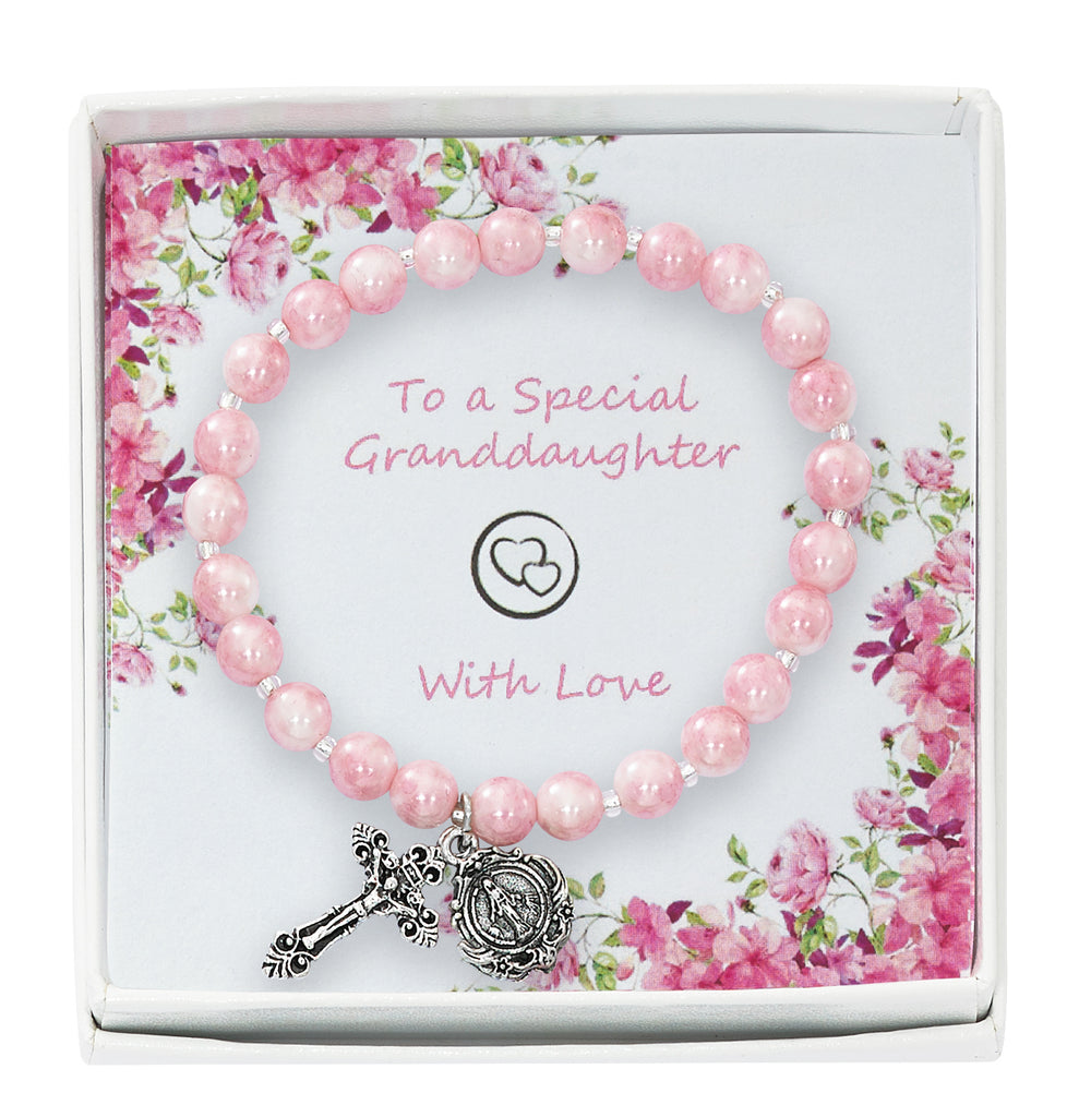 Bracelet - Pink Swirl Stretch Bracelet in Granddaughter Box