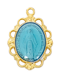 Miraculous Medal Blue - Gold over Sterling