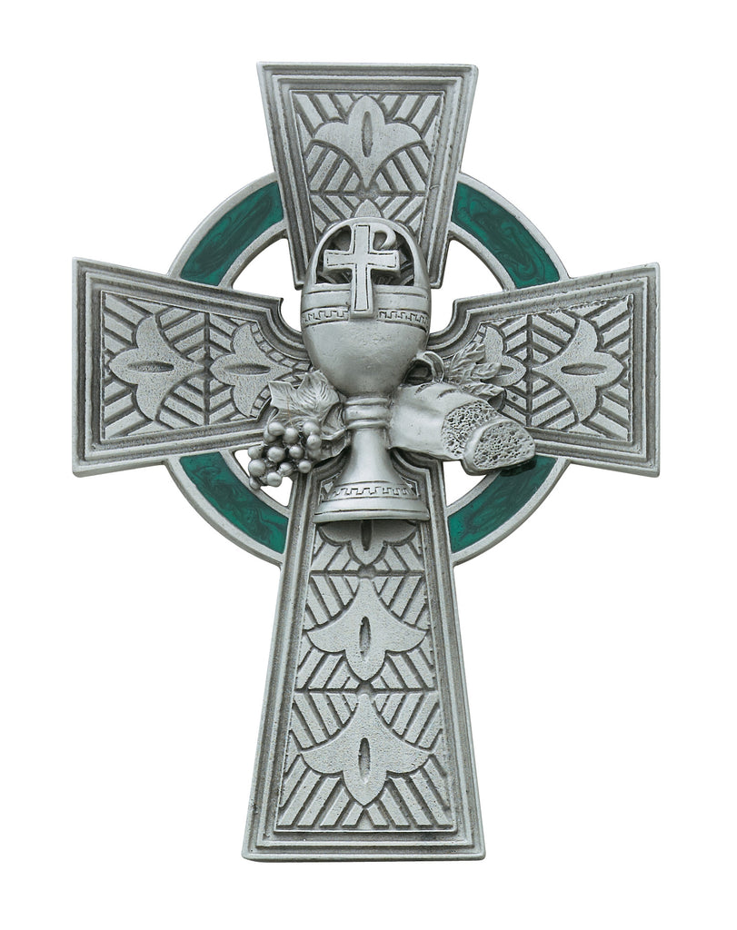 Cross 4.75in Pewter Communion Celtic Cross Box