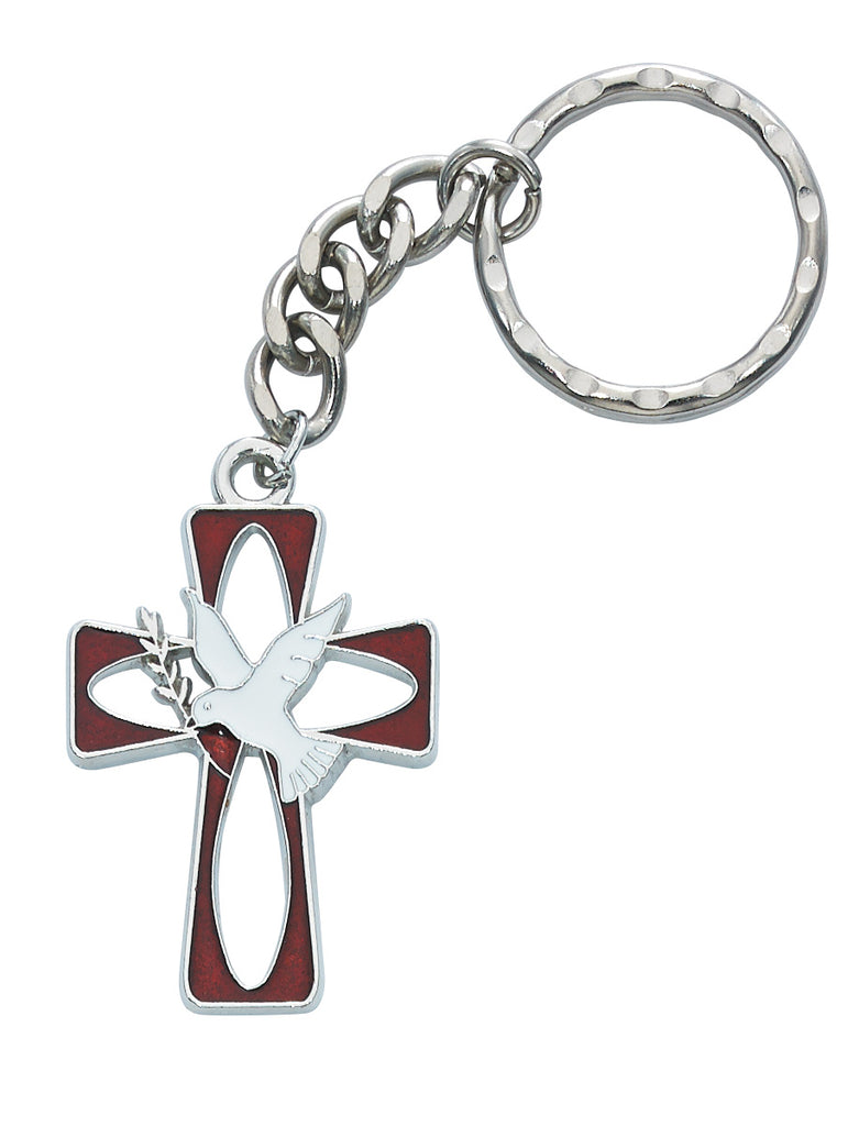Holy Spirit Key Ring - Red and White Enameled