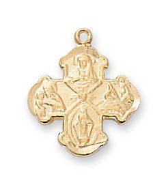 4-way Medal - Gold on Sterling Baby Pendant Boxed