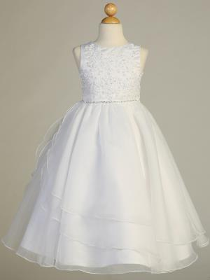 Communion Dress - Embroidered applique & Organza