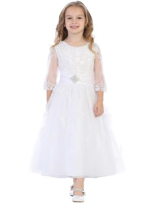 Communion Dress - Embroidered Tulle