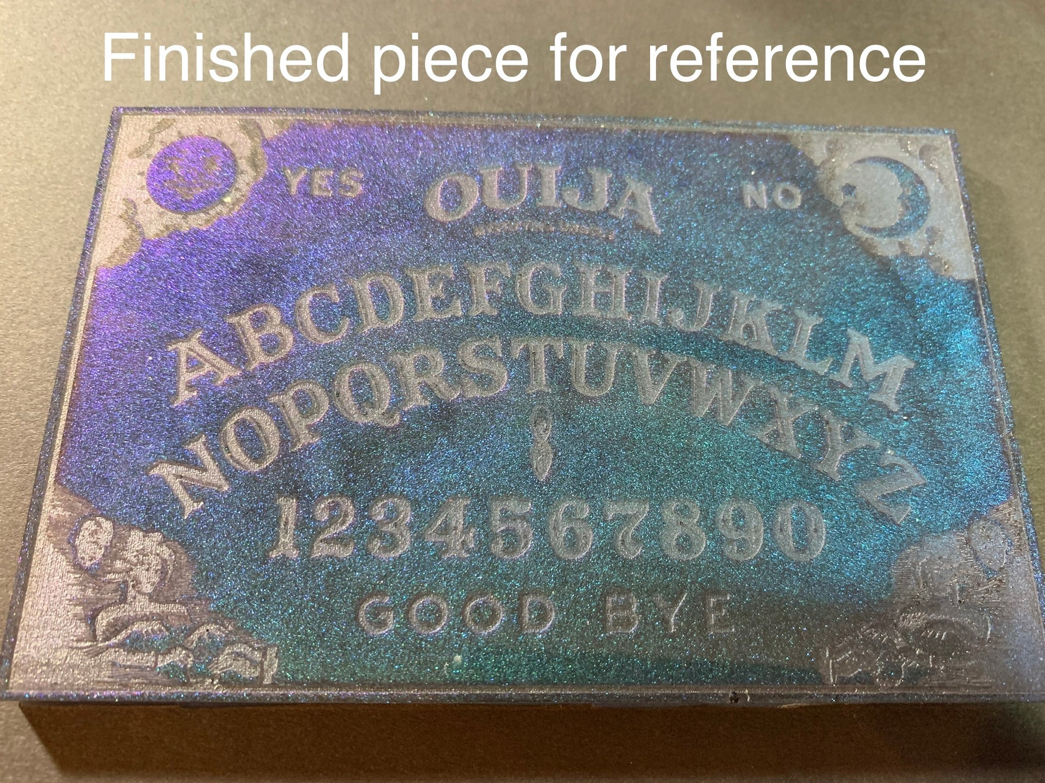 Glossy ouija board mold with matte details