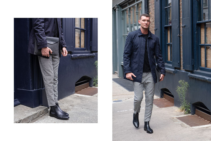 AW19 Lookbook - Walk London Alfie Chelsea Boot Worn With Smart Casual Office Attire