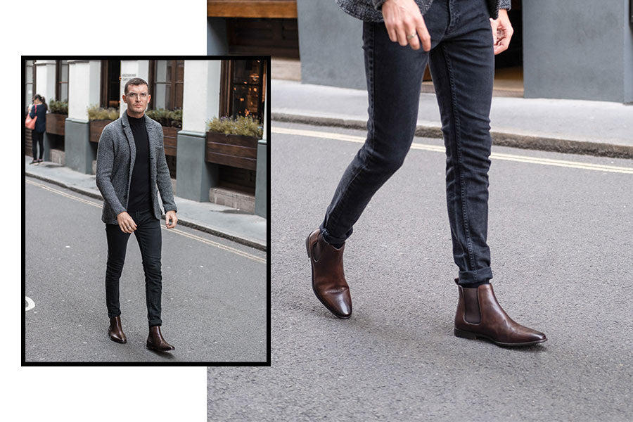 AW19 Lookbook Walk London Alfie Chelsea Boot Worn With An Smart Casual Weekend Outfit