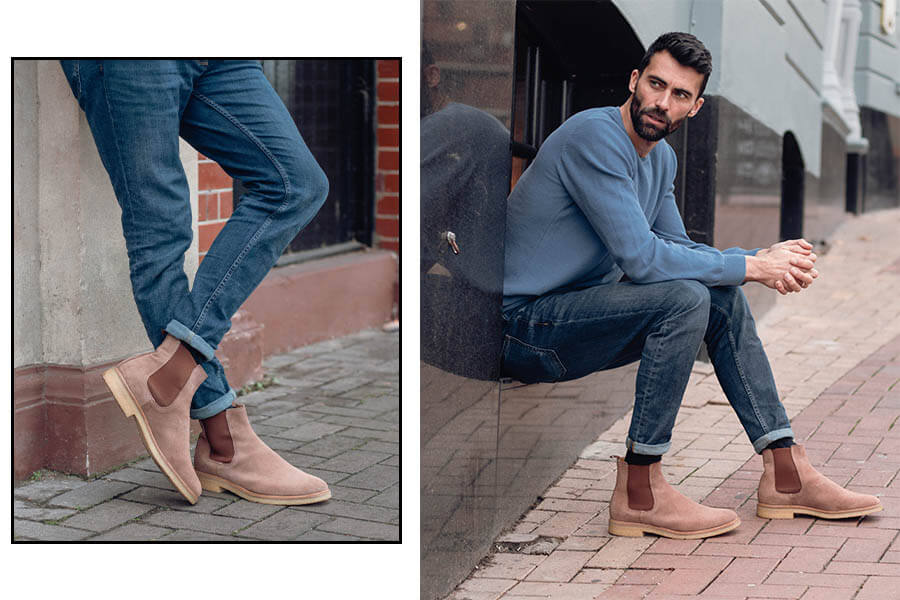Essential Smart Casual Shoes Craven Crepe Chelsea Boots in Taupe