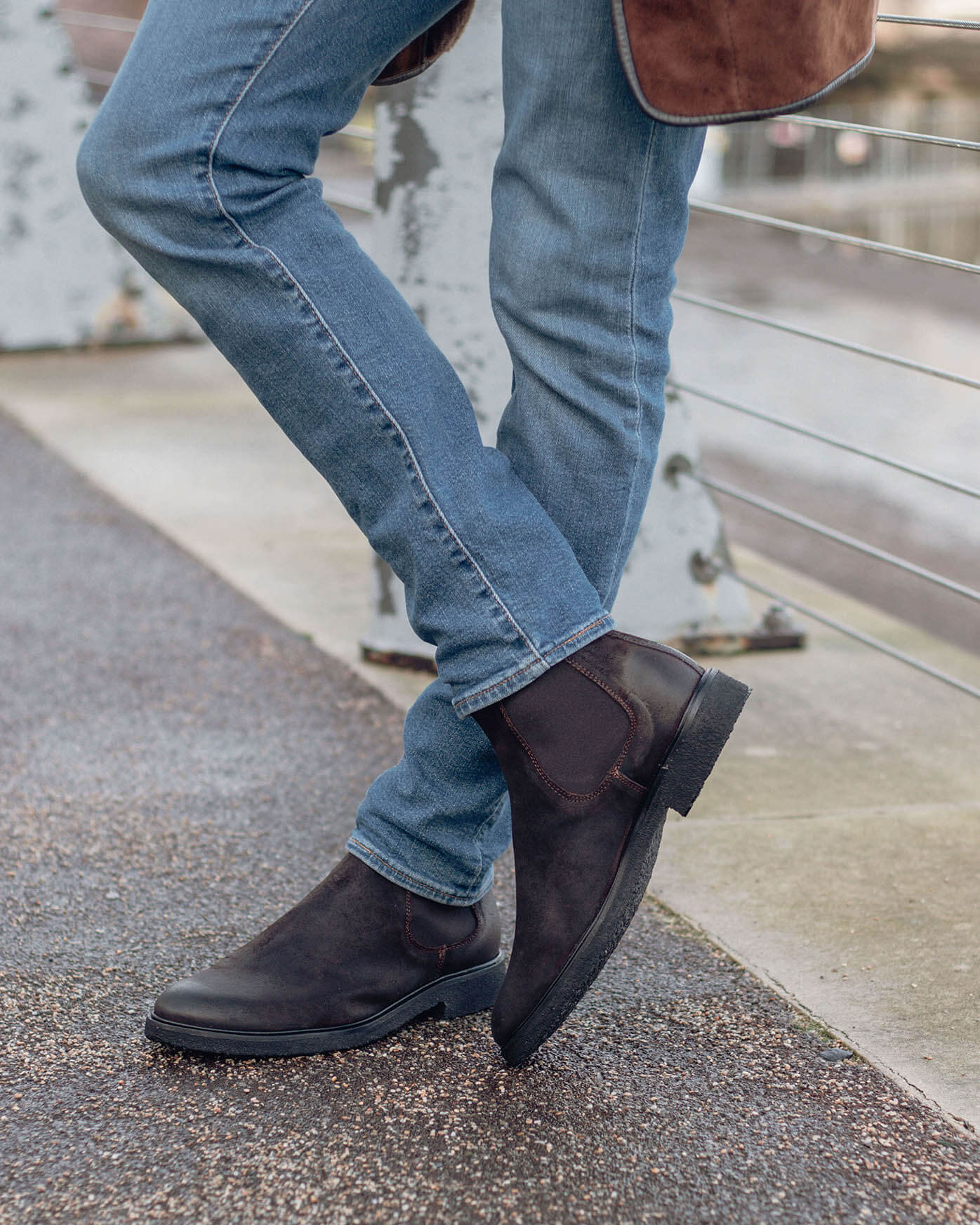 Essential Smart Casual Shoes Craven Crepe Chelsea Boots in Dark Brown