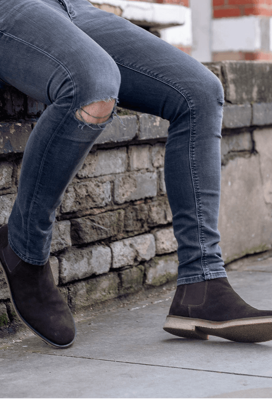 Walk London Hornchurch Chelsea Boot in Brown Suede