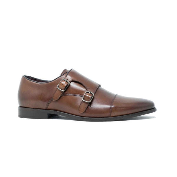 Mens Monk Strap Shoes: Brown Leather Alfie