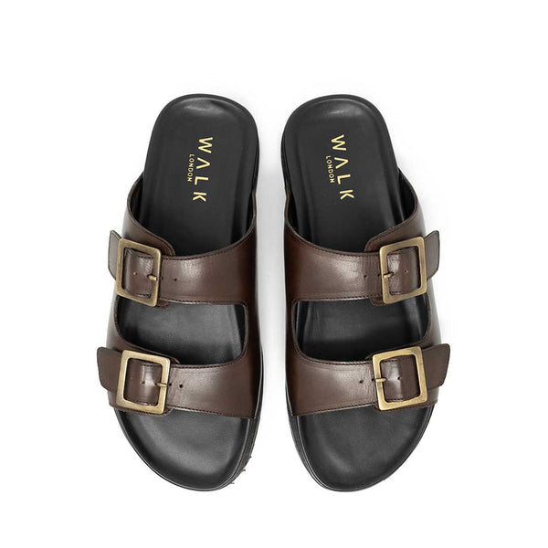 WALK London Brody Sandal Brown Leather