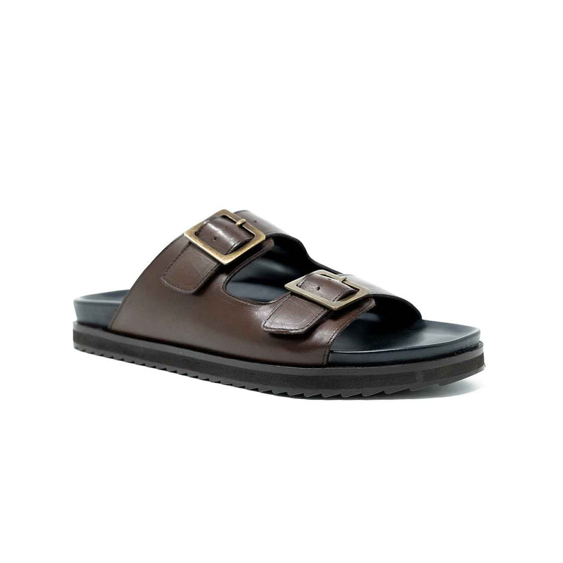 Mans Brown Leather Double Buckle Sandal