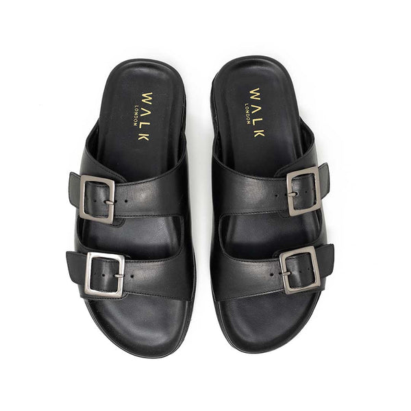 WALK London Brody Sandal Black Leather