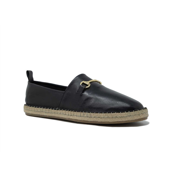 Black Leather Espadrille with Gold Snaffle Bit