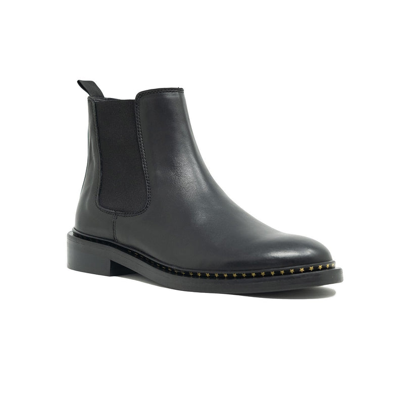 Walk London Darcy Chelsea Boot in Black Leather, Angle Shot