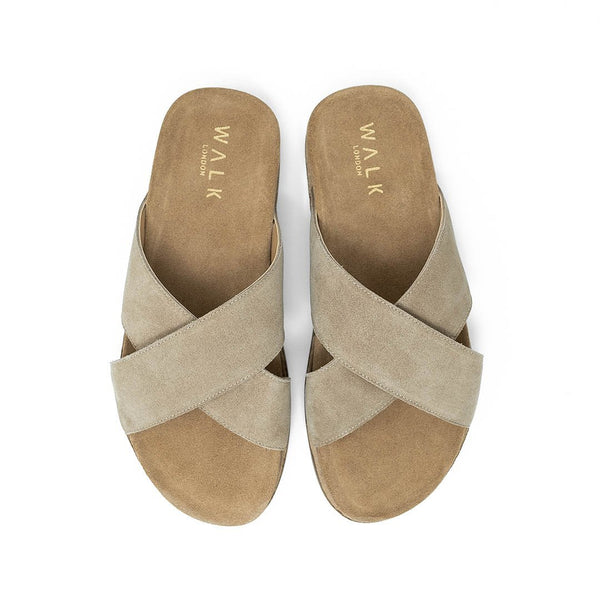 WALK London Fisher Sandal in Stone Suede