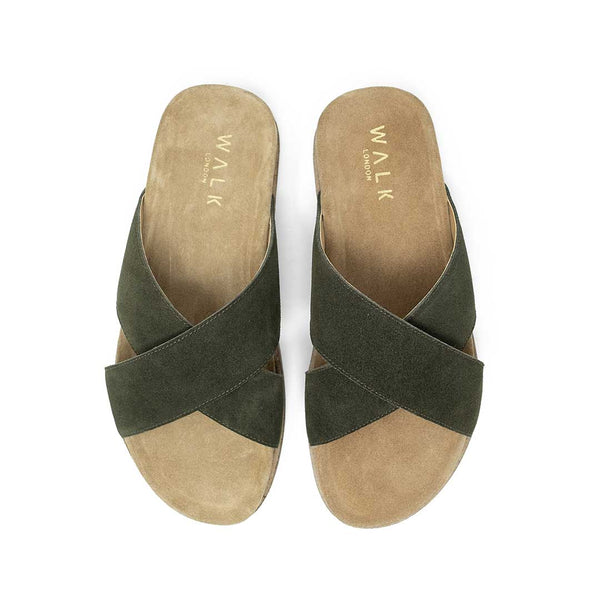 WALK London Fisher Sandal Khaki Suede