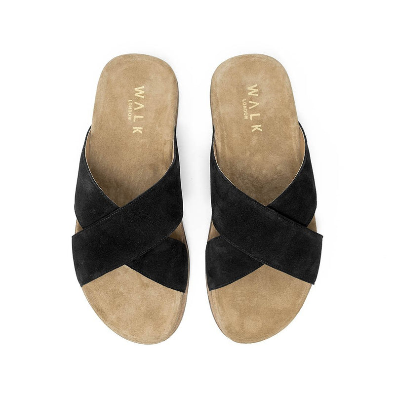 WALK London Fisher Sandal in Black Suede