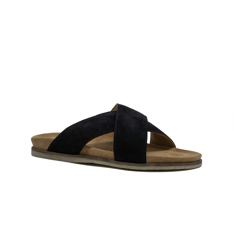 Men's Black Suede Cross Strap Sandal
