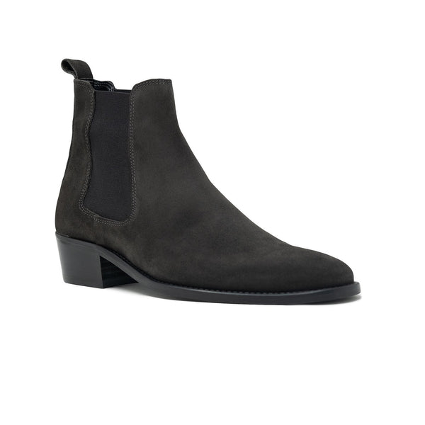 Walk London Hoxton Cuban Heeled Chelsea Boot in off-black suede, angled silhouette with white background