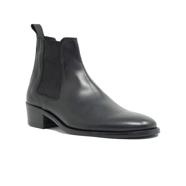 Walk London Hoxton Cuban Heeled Chelsea Boot in black leather, angled silhouette with white background