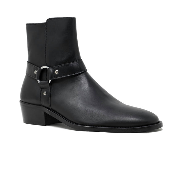 Black Leather Cuban Heel Boots