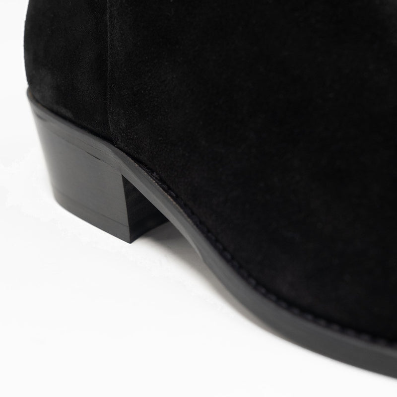 Walk London Hoxton Zip-up Cuban Heel Boot in Black Suede, Close-up of the heel with white background
