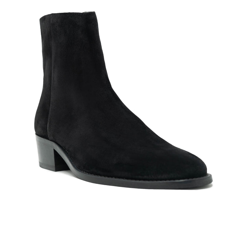Walk London Hoxotn Cuban Zip-up Boot in suede black