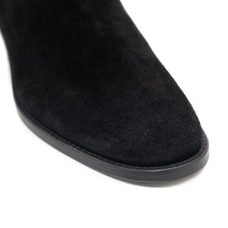 Walk London Hoxton Zip-up Cuban Heel Boot in Black Suede, Close-up of the toe with white background