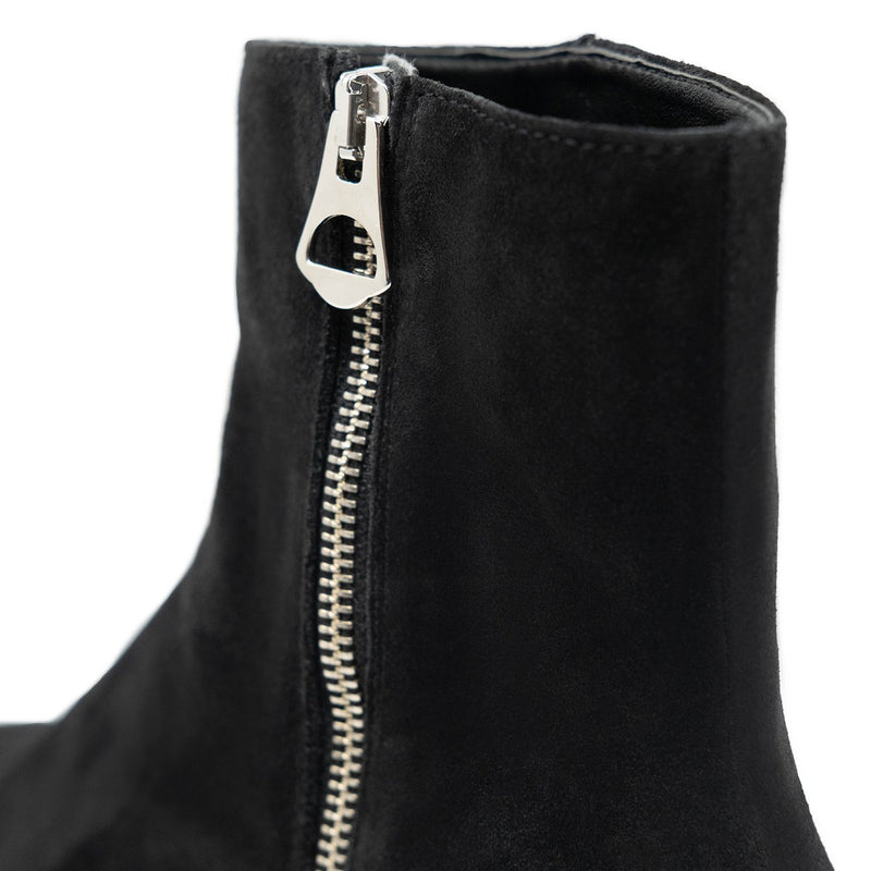 Walk London Hoxton Zip-up Cuban Heel Boot in Black Suede
