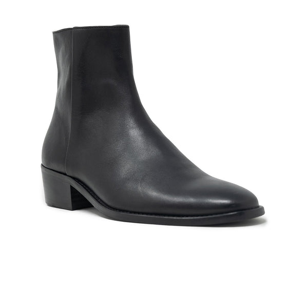 Walk London Hoxton Cuban Heeled Chelsea Boot in black leather, angle silhouette with white background