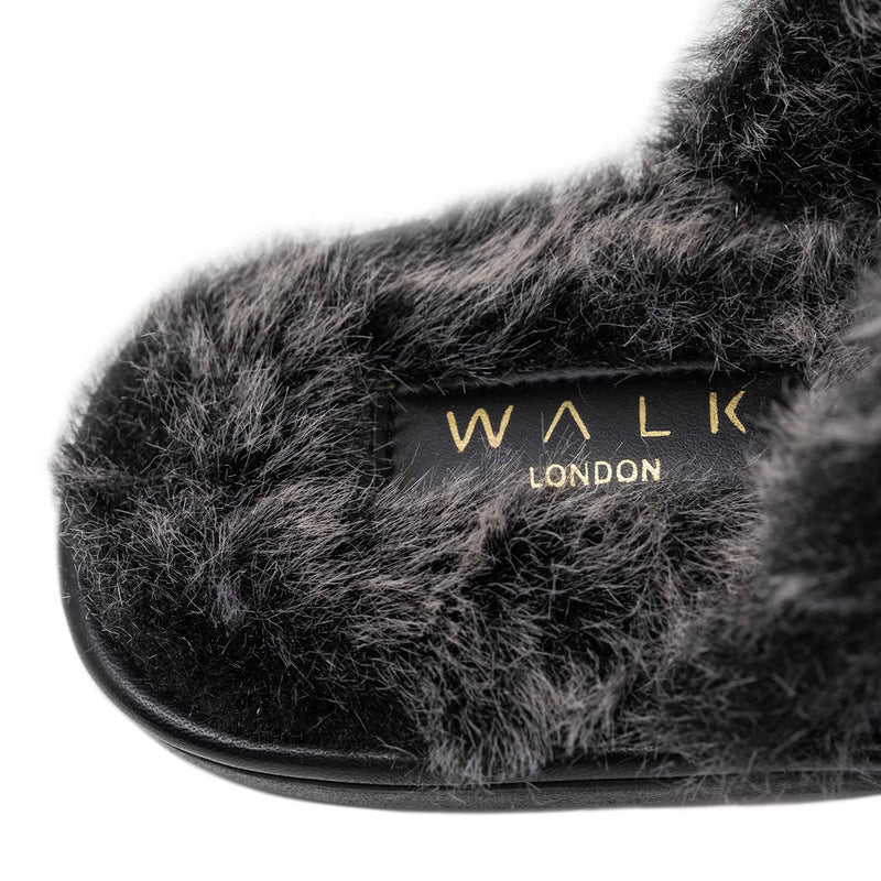 Silver toned Faux Fur Lined Slipper