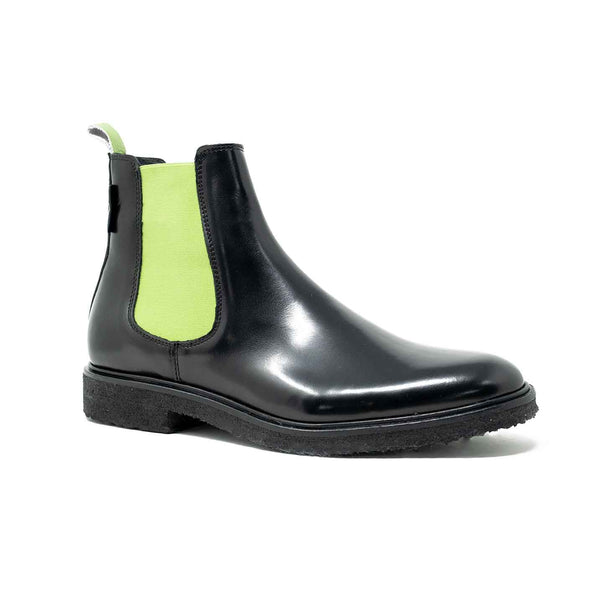 WALK London Ademola Lookman Chelsea Boot Black With Lime Green
