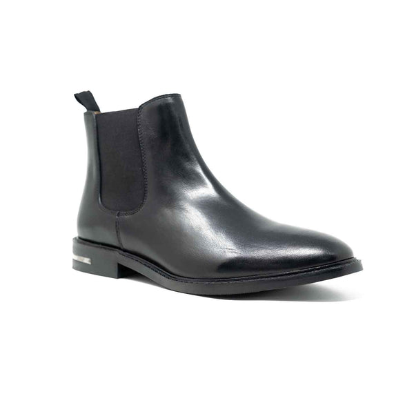 Men's Black Leather Heel Clip Chelsea Boot