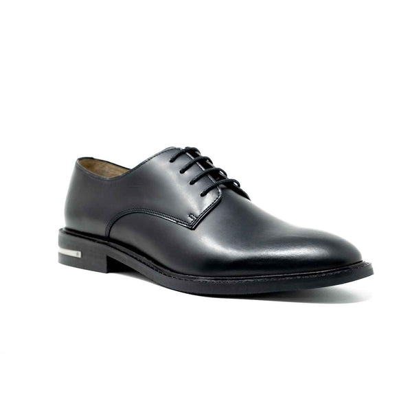 Men's Black Leather Derby Shoe with Heel Clip