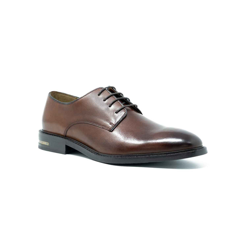 Men;s Tan Leather Derby Shoe with Heel Clip