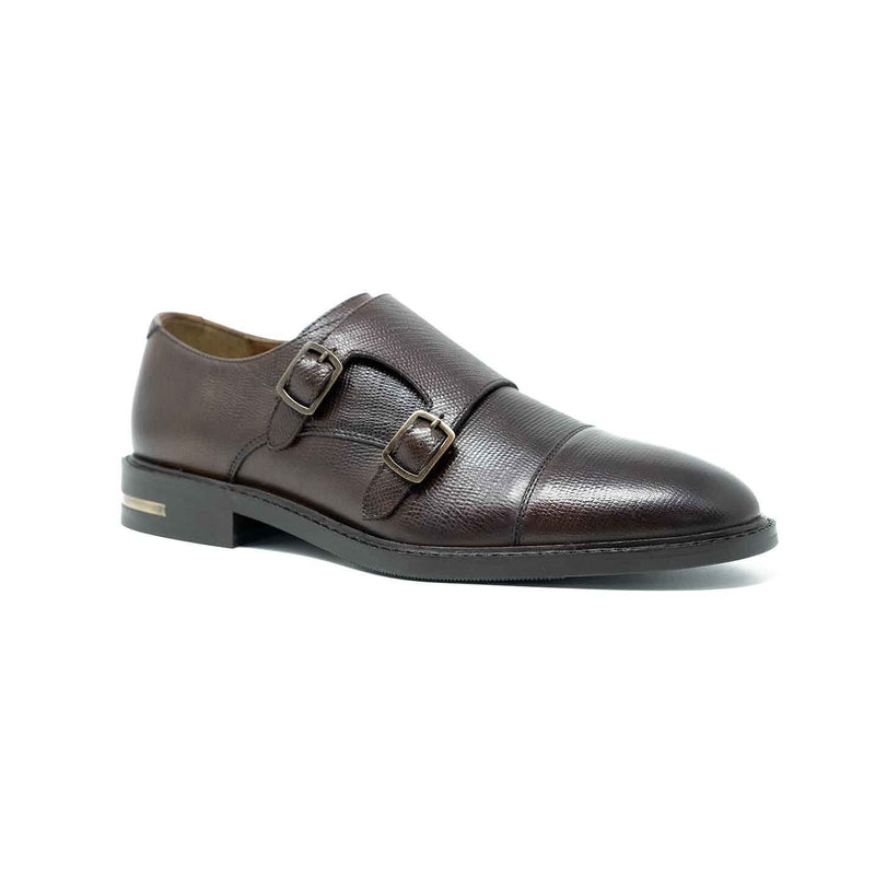 WALK London Oliver Monk Shoe Brown Leather Metal Heel