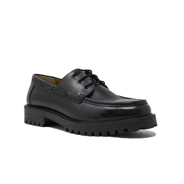 Mens Black Leather Boat Shoe with Cleated Sole