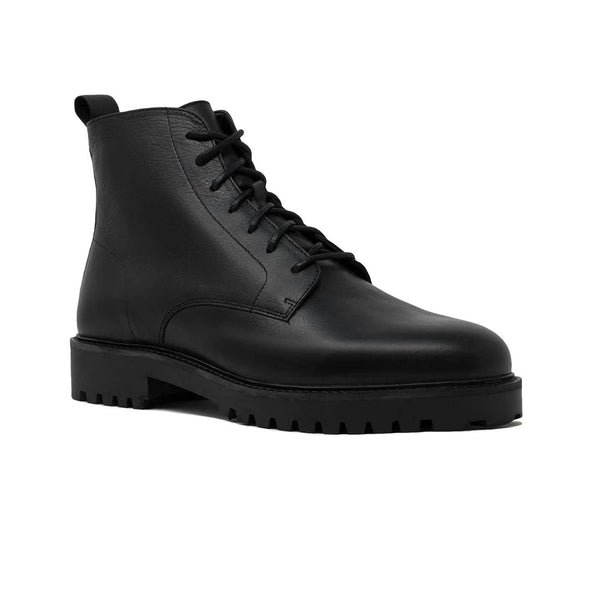 Walk London Sean Casual Lace Up Boots in Black Leather
