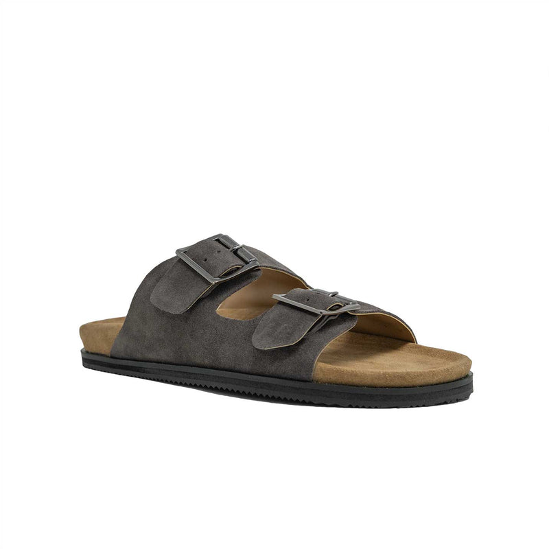 Men;s Double Strap Sandal in Grey Suede