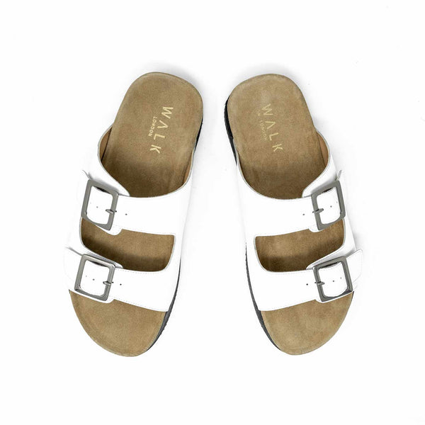 WALK London Sunset Double Strap Sandal White Leather