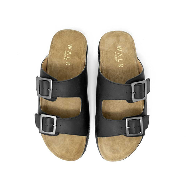 WALK London Sunset Double Strap Sandal Black Leather