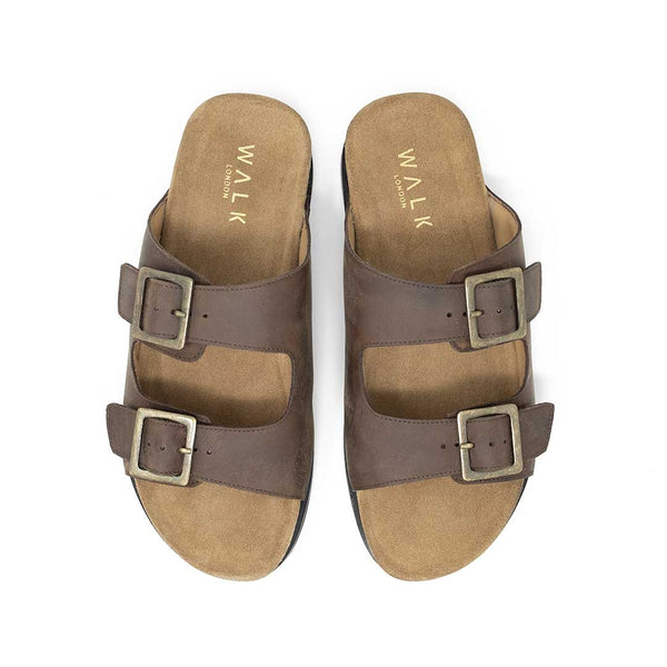 WALK London Sunset Double Strap Sandal Tan Leather