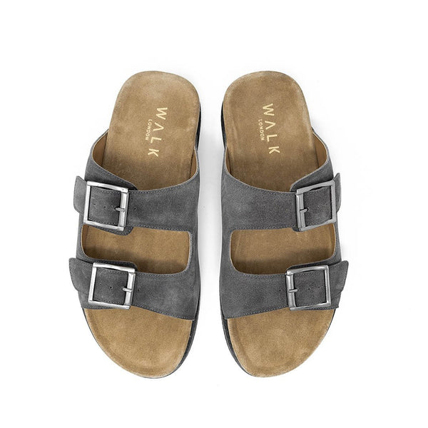 WALK London Sunset Double Strap Sandal Grey Suede